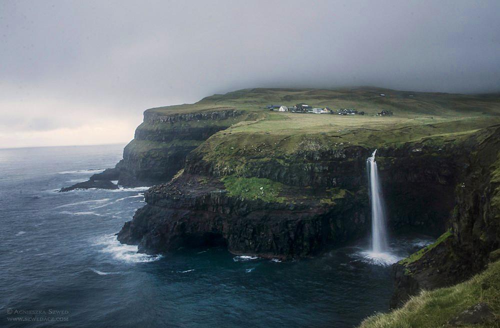 Wyspy Owcze, widok na Gásadalur.